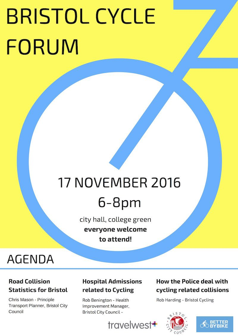 Three interesting presentations at Bristol Cycle Forum, Thursday 17th Nov 2016