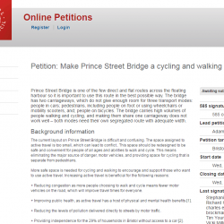 Bristol Cycling present Prince St Bridge petition to City Council