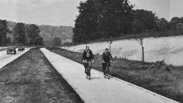 Cycle lane in Dorking, 1930s