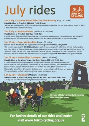Bristol Cycling: Rides for July 2017