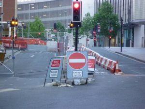 Signing roadworks to help walking and cycling