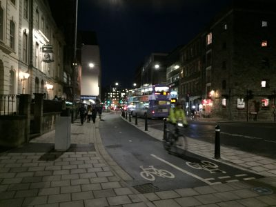 Prince Street cycle track at night