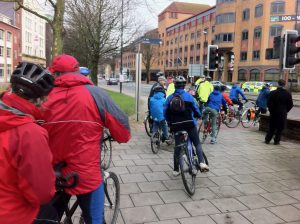 Victoria Street group of cyclists at Temple Gate