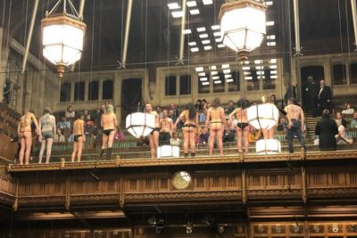 Extinction Rebellion group bare bums in the House of Commons