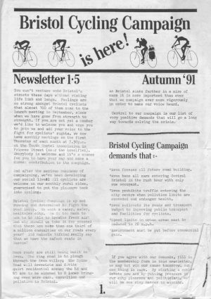 Bristol Cyclist magazine No.1 Summer 1991