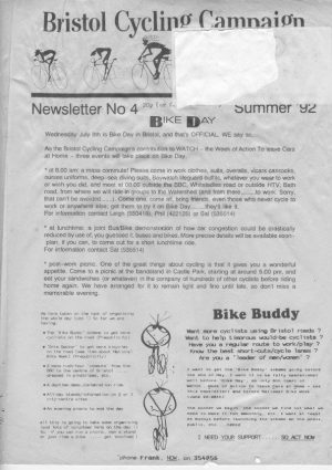 Bristol Cyclist magazine No.4 Summer 1992