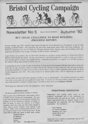 Bristol Cyclist magazine No.5 Autumn 1992