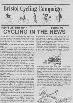 Bristol Cyclist magazine No.7 Spring 1993
