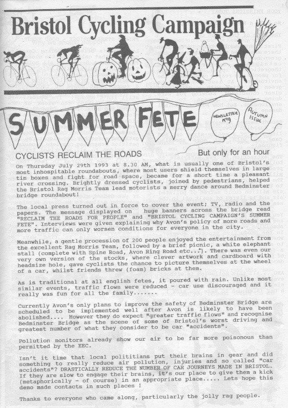 Bristol cyclist magazine No.9 Autumn 1993