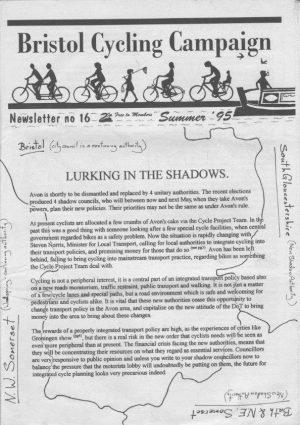 Bristol cyclist magazine No.16 Summer 1995