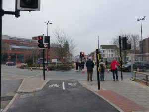 opening of cycle route at Old Market roundabout