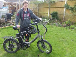 Mary Milton with her folding eBike