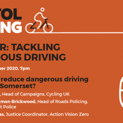 Tackling Dangerous Driving – Bristol Cycling Webinar Thursday 8th October
